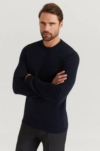Filippa K Stickad tröja Cotton Merino Basic Sweater Blå