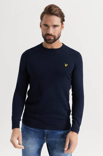 Lyle & Scott Tröja Crew Neck Cotton Merino Jumper Blå