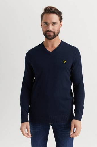 Lyle & Scott Tröja V-Neck Cotton Merino Jumper Blå