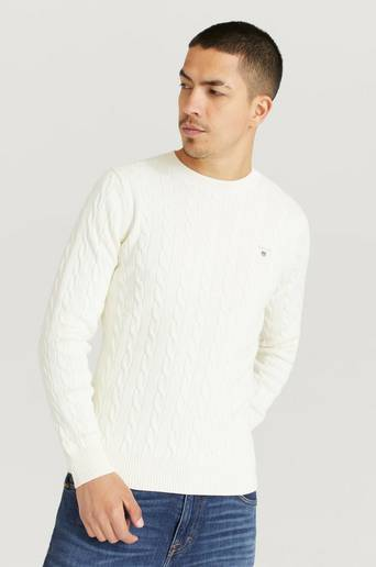 Gant Stickad tröja Cotton Cable Crew Vit