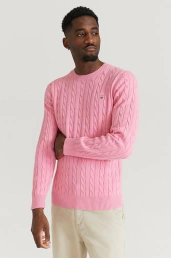 Gant Stickad tröja Cotton Cable Crew Rosa