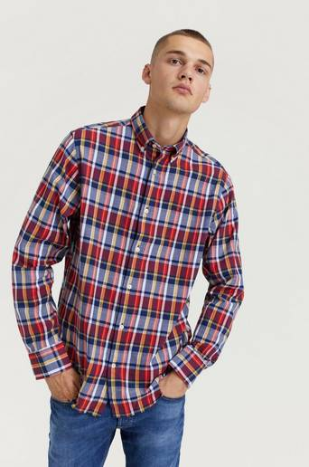 Gant Skjorta Oxford Plaid Reg BD Blå