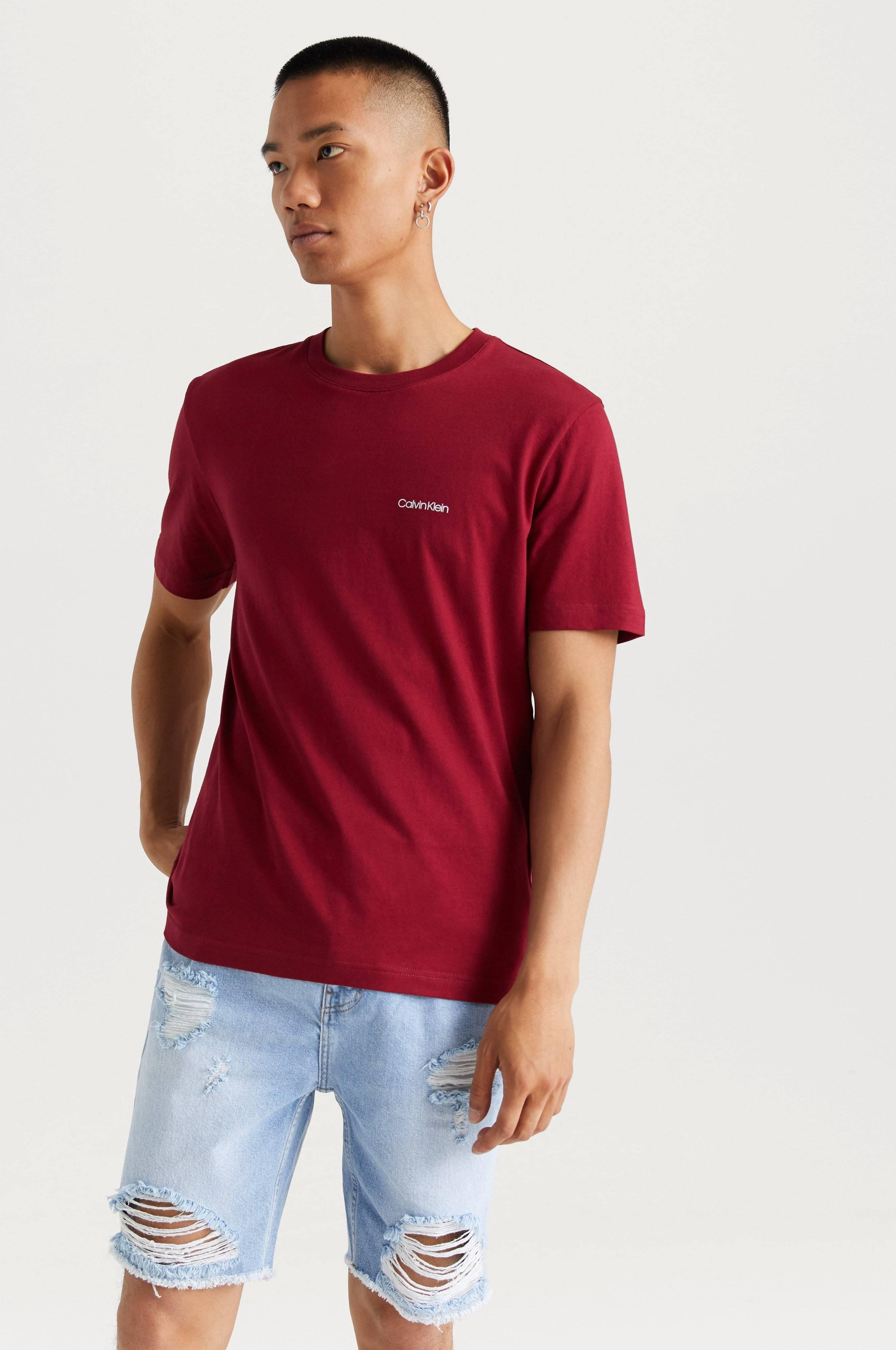 Calvin Klein Cotton Chest Logo T-shirt Blå