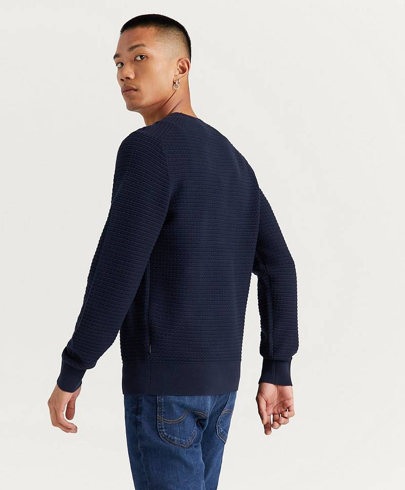 Stickad tröja Cotton Structured Crew Sweater