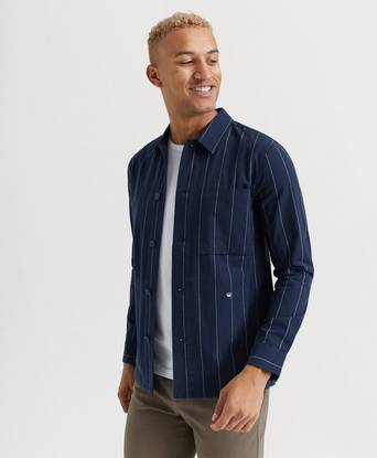 JUNK de LUXE SKJORTA Oxford stripe L/S outershirt Blå