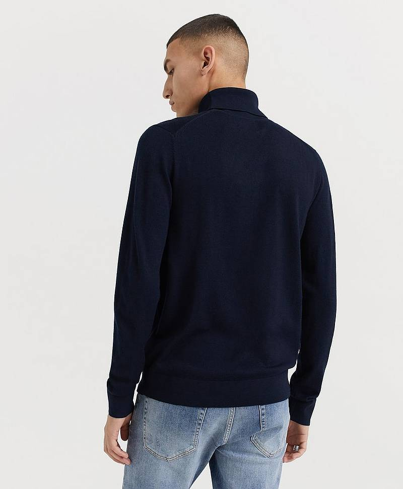 Pologenser Fine Merino Wool Roll Neck Knitted Jumper