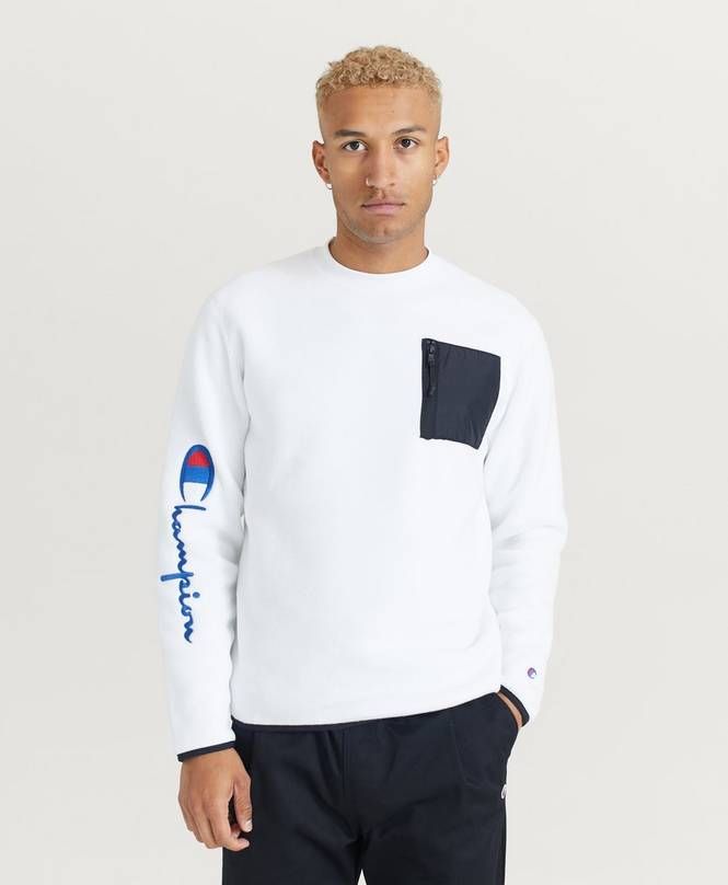 Collegepusero Sleeve Script Crewneck Sweatshirt