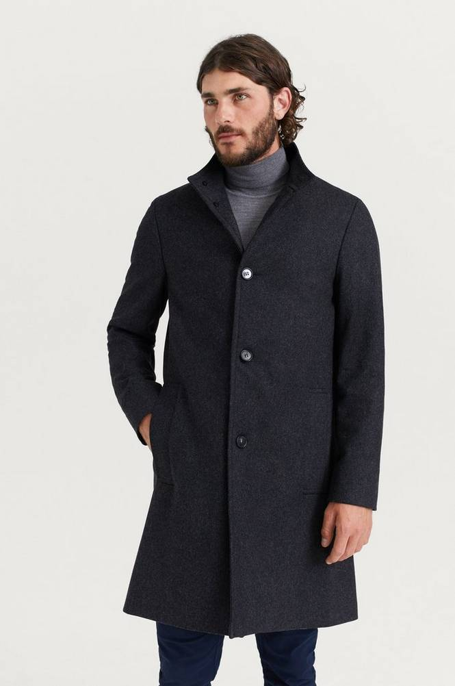 Wool Cashmere Blend Funnel Coat