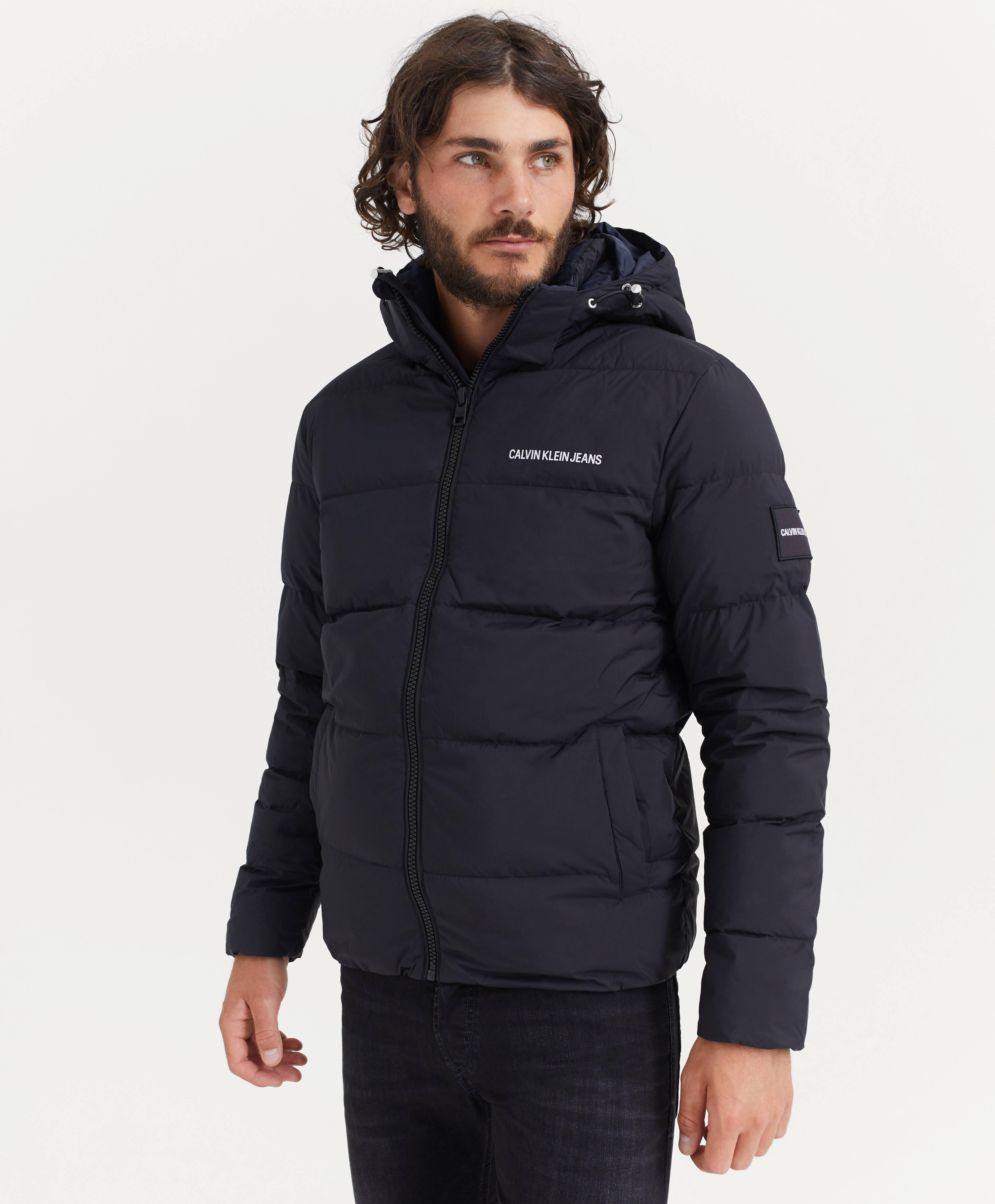 Calvin Klein Jeans HOODED PUFFER JACKET - Vinterjakke - black