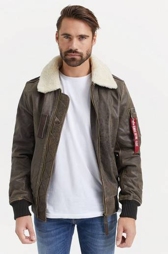 Bilde av Alpha Industries Jakke Injector Iii Leather Brun