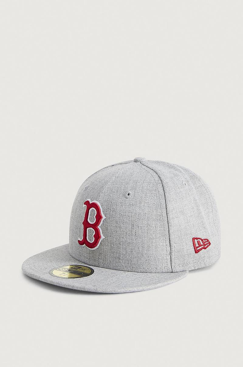 CAPS Heather Gray 59Fifty Bosred