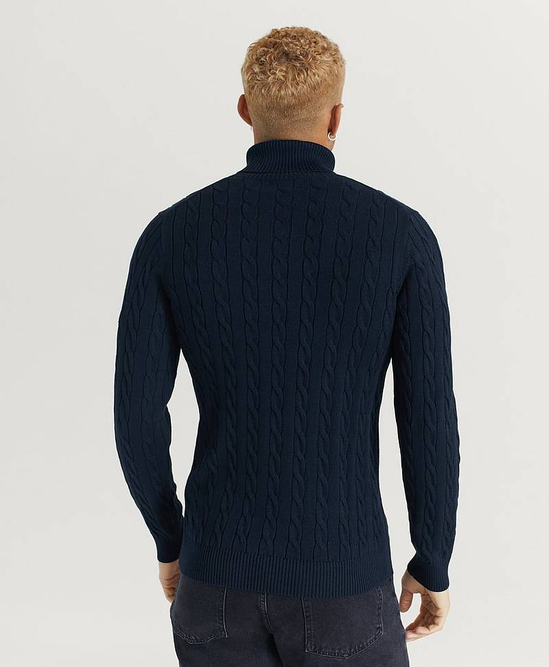 Flettestrikket genser Cotton Cable Turtle Neck