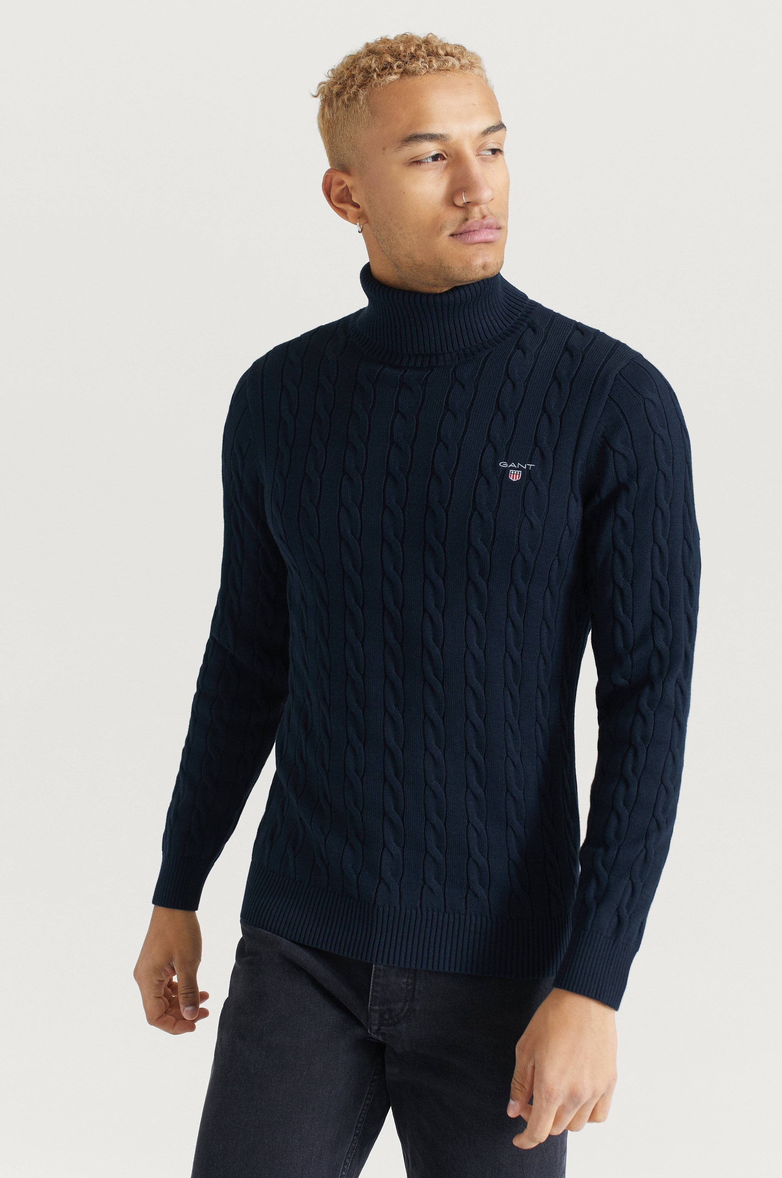 Gant Cotton Cable Turtle Neck Tröjor Blue
