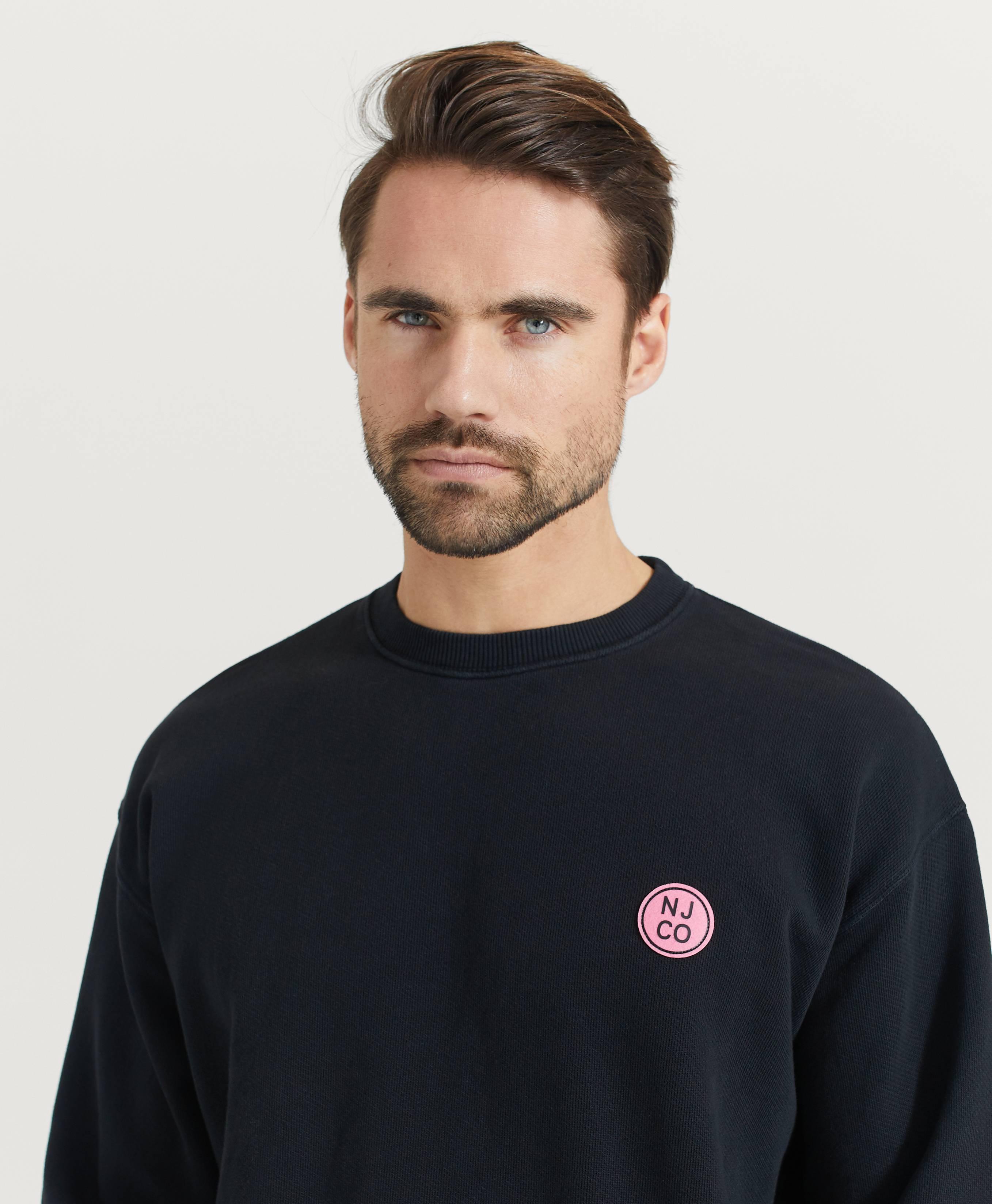 Nudie Jeans Sweatshirt Lukas Logo Black Svart