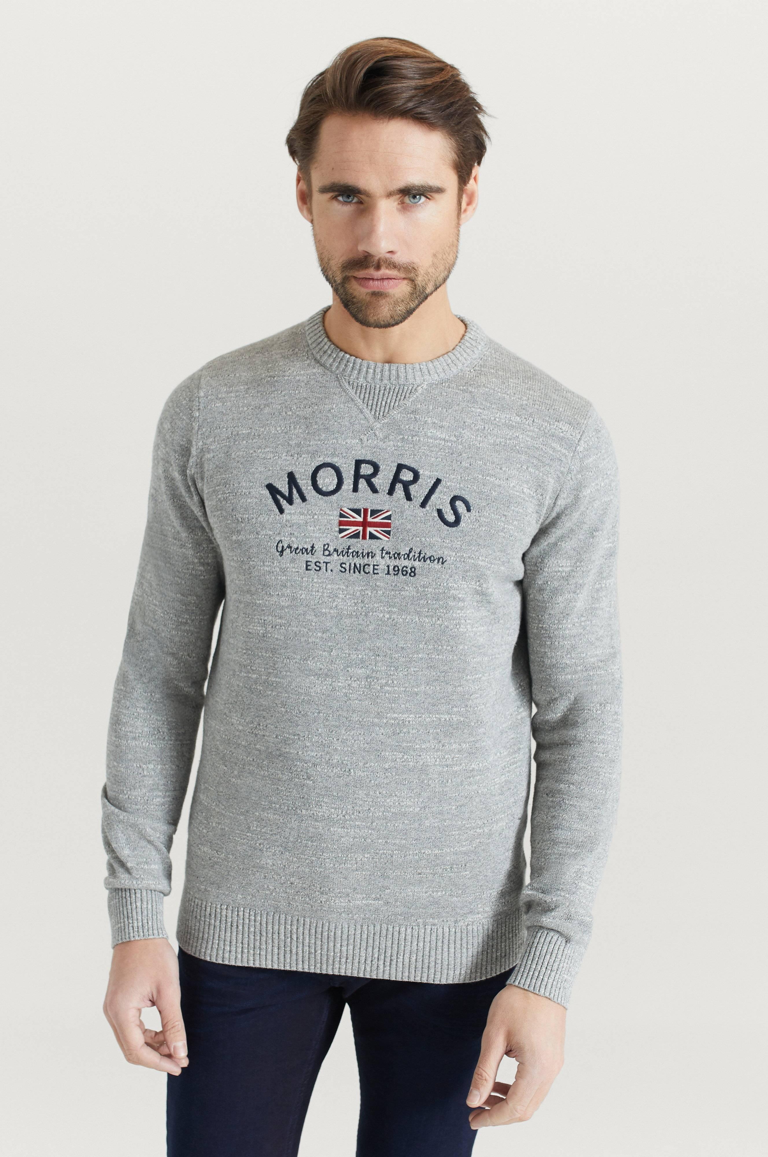 Morris Stickad Tröja Travis Oneck Grå