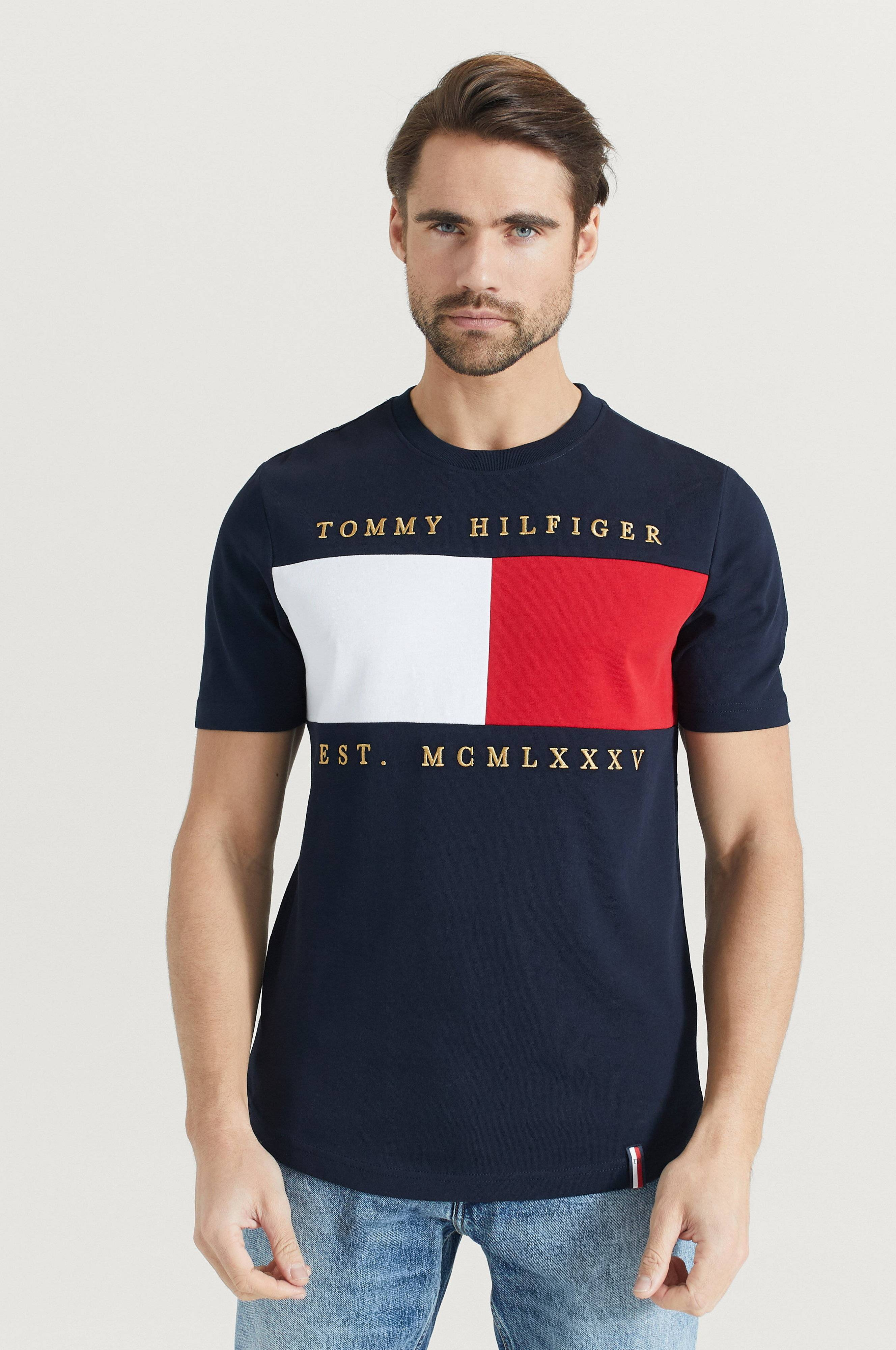 Tommy Hilfiger T-shirt Flag Chest Embroidery Relax Tee Blå