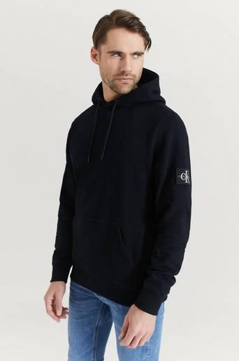 Calvin Klein Jeans Hoodie Monogram Sleeve Badge Hoodie Svart