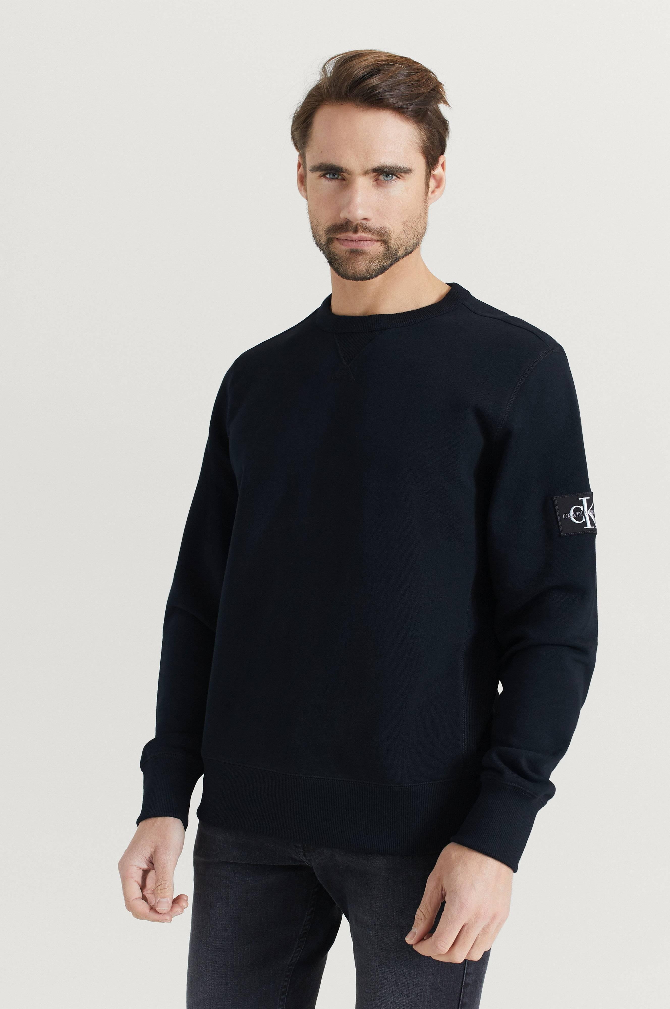 Calvin Klein Sweatshirt Monogram Sleeve Badge CN Svart