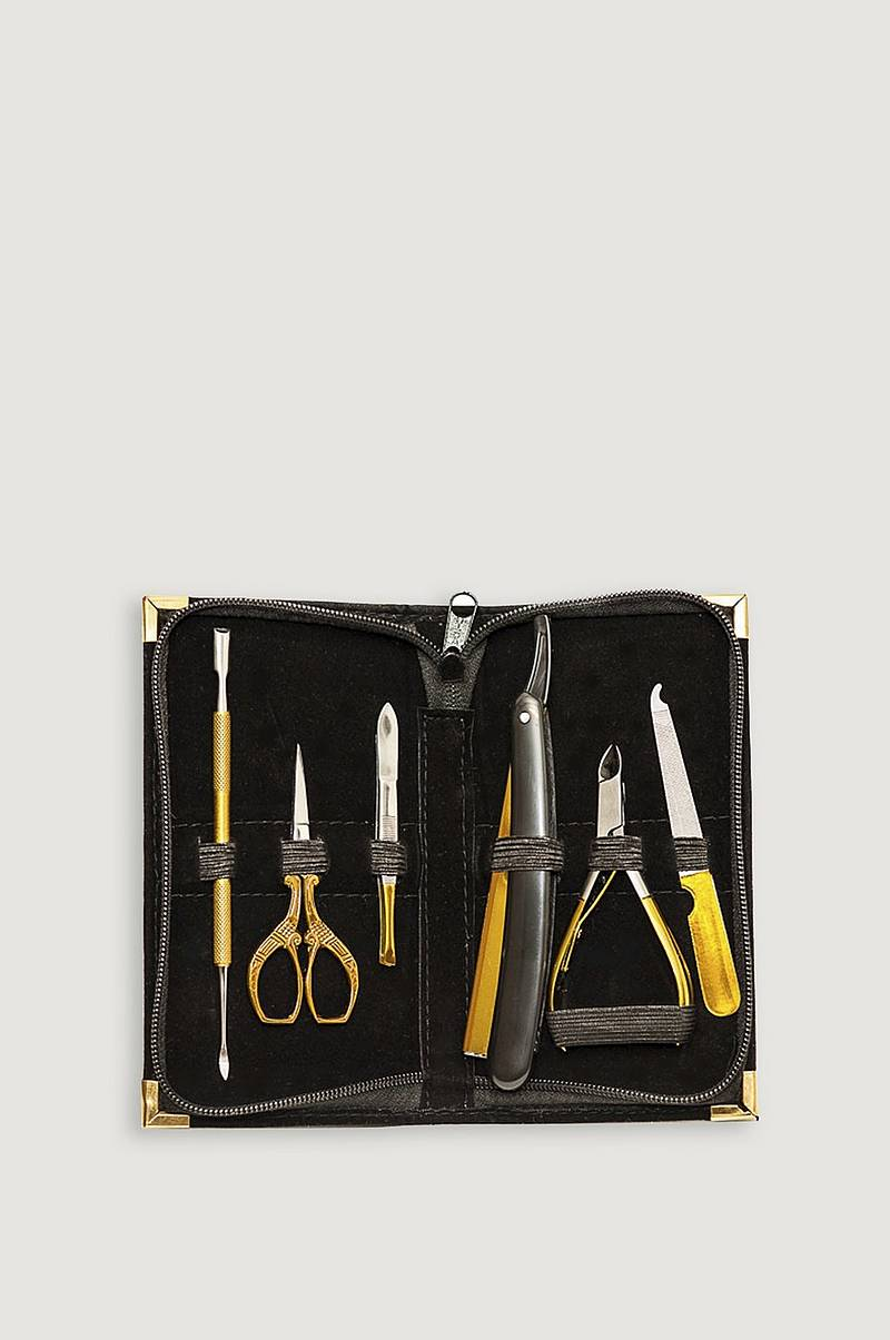 Manikyrsett Black 6 pc Manicure Set Med Barberkniv