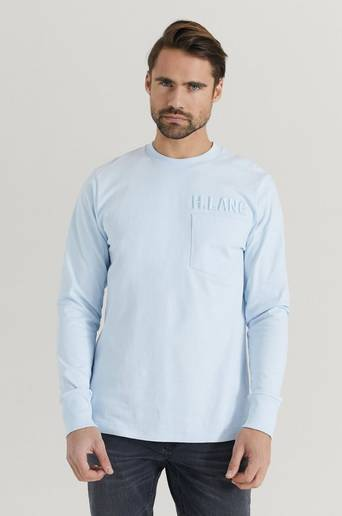 Helmut Lang T-shirt Long Sleeve Tee Raise Blå