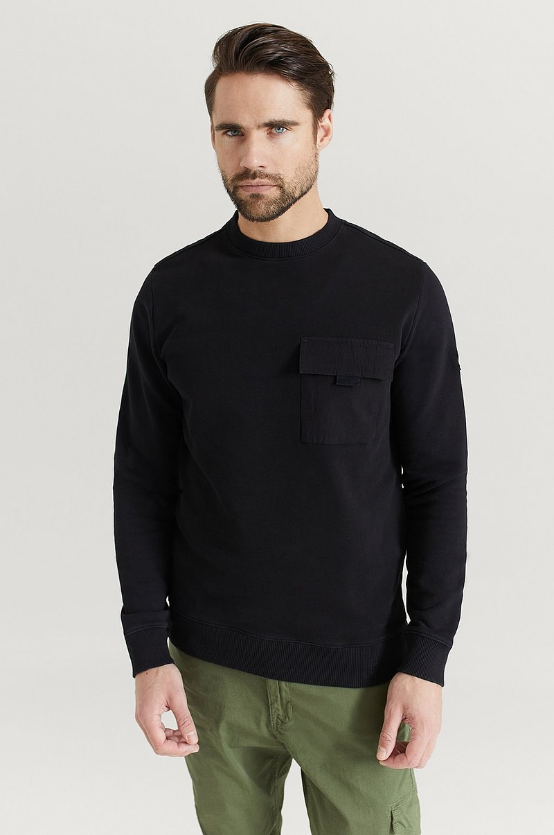 Sweatshirt Chest Pocket Crew Neck Jumper