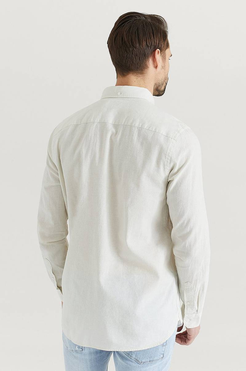 Skjorta Button Down Cotton Linen Shirt