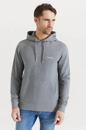 Calvin Klein Hoodie Logo Embroidery Hoodie Grå