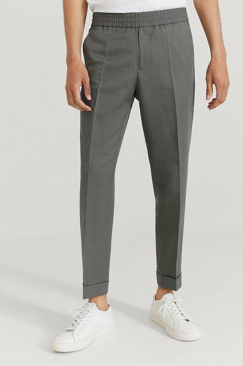 Chinos Terry Cropped Linen Slack