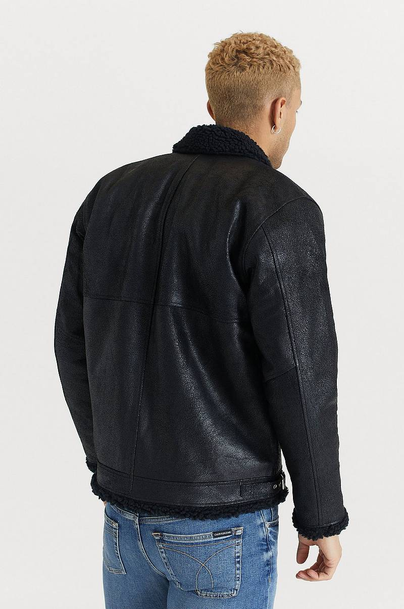 Skinnjakke Shearling Jacket Black