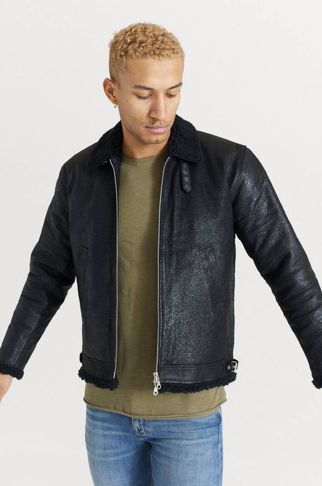 Nahkatakki Shearling Jacket Black