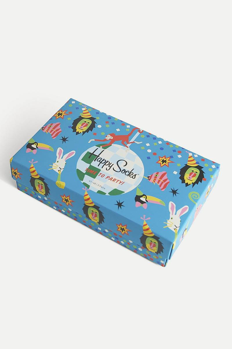 3-pak strømper Happy Birthday Party Animal Gift Box