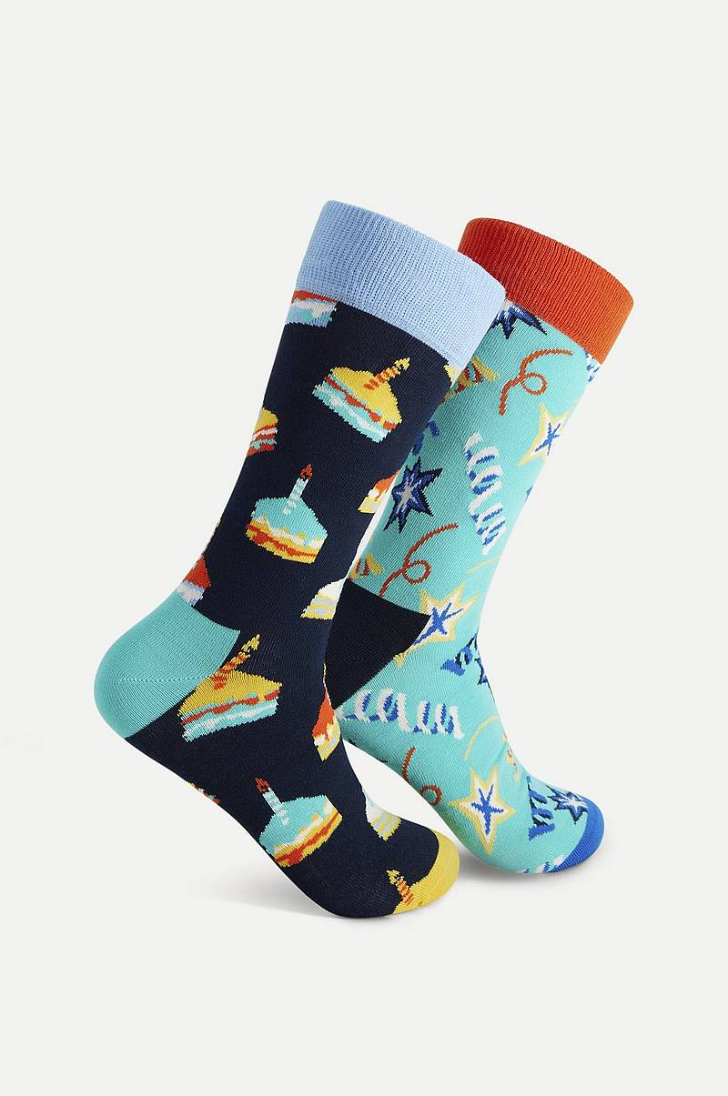 2-Pack Strumpor Birthday Cake Socks Gift Set