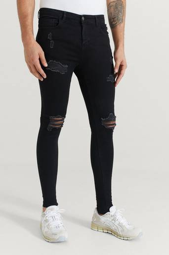 Nimes Jeans Ripped & Repaired Spray on Jeans Svart