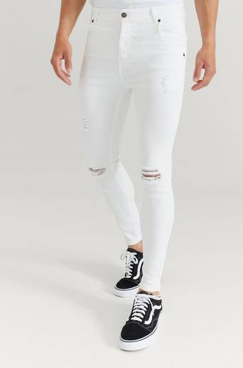SIKSILK Jeans Skinny Distressed Denim Vit