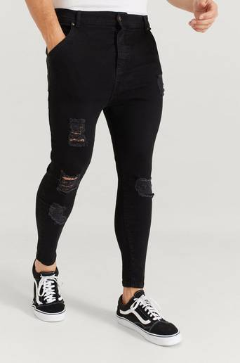 SIKSILK Jeans Ultra Drop Crotch Denims Svart