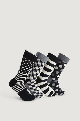 Happy Socks 4-Pack Classic Black & White Socks Gift Set Multi