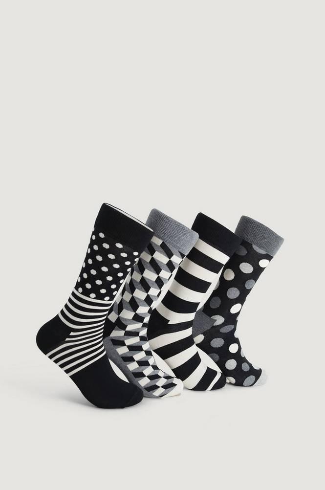 Classic Black & White Socks Gift Set, 4/pakk.