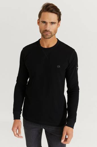 Calvin Klein Tröja Waffle Longsleeve Sweater Svart