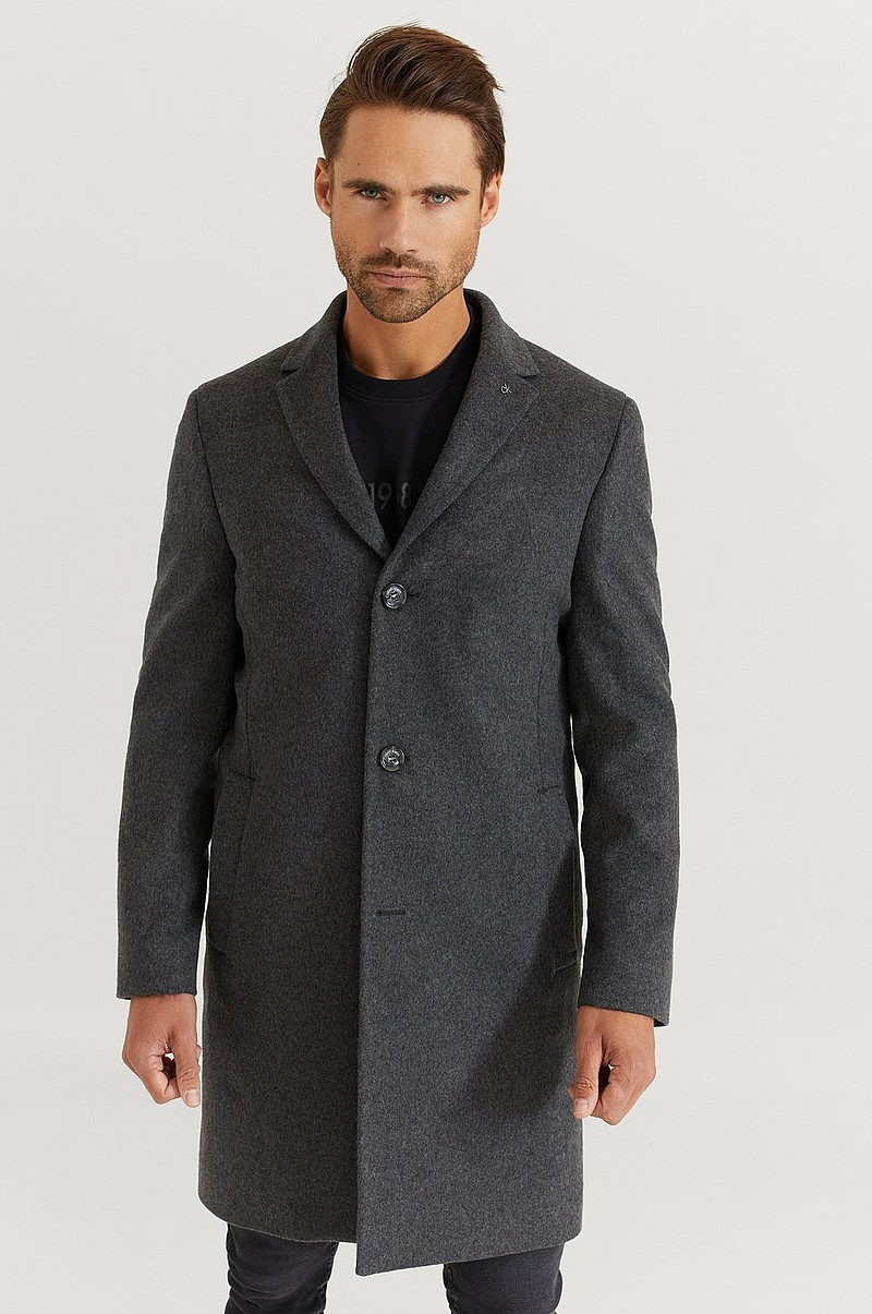Rock Wool Cashmere Crombie Coat