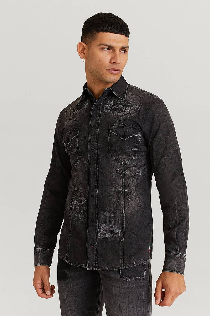 Farkkupaita Denim Shirt Ls Allover Outline Skull