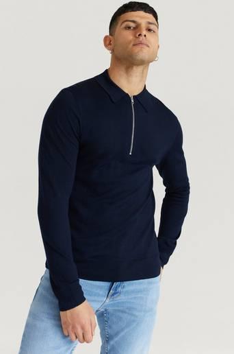 Filippa K Finstickad Tröja M. Shawn Zip Polo Shirt Blå