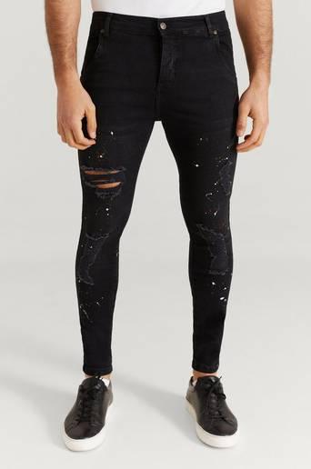 SIKSILK Jeans Skinny Distressed Riot Denims Svart