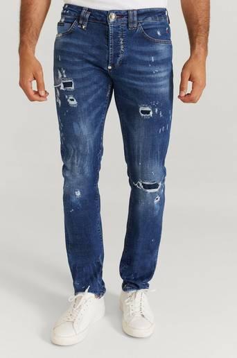 Philipp Plein Jeans Super Straight Cut Skull Blå