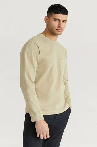 Nudie Jeans Långärmad T-Shirt Rudi Heavy Pocket Tee Brun