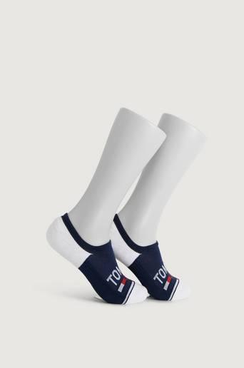 Tommy Hilfiger 2-Pack Strumpor TH Unisex Tommy Jeans No Show High Cut 2P Blå