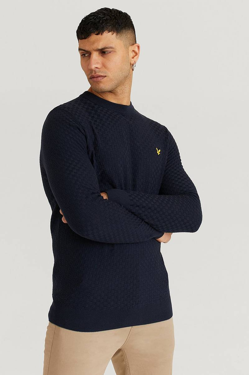 Striktrøje Checkerboard Knit Crew Neck Jumper