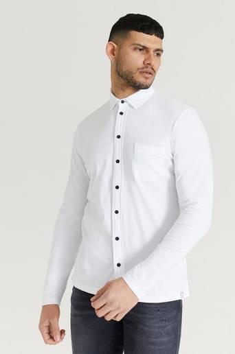 Replay Skjorta i bomullstrikå Vit