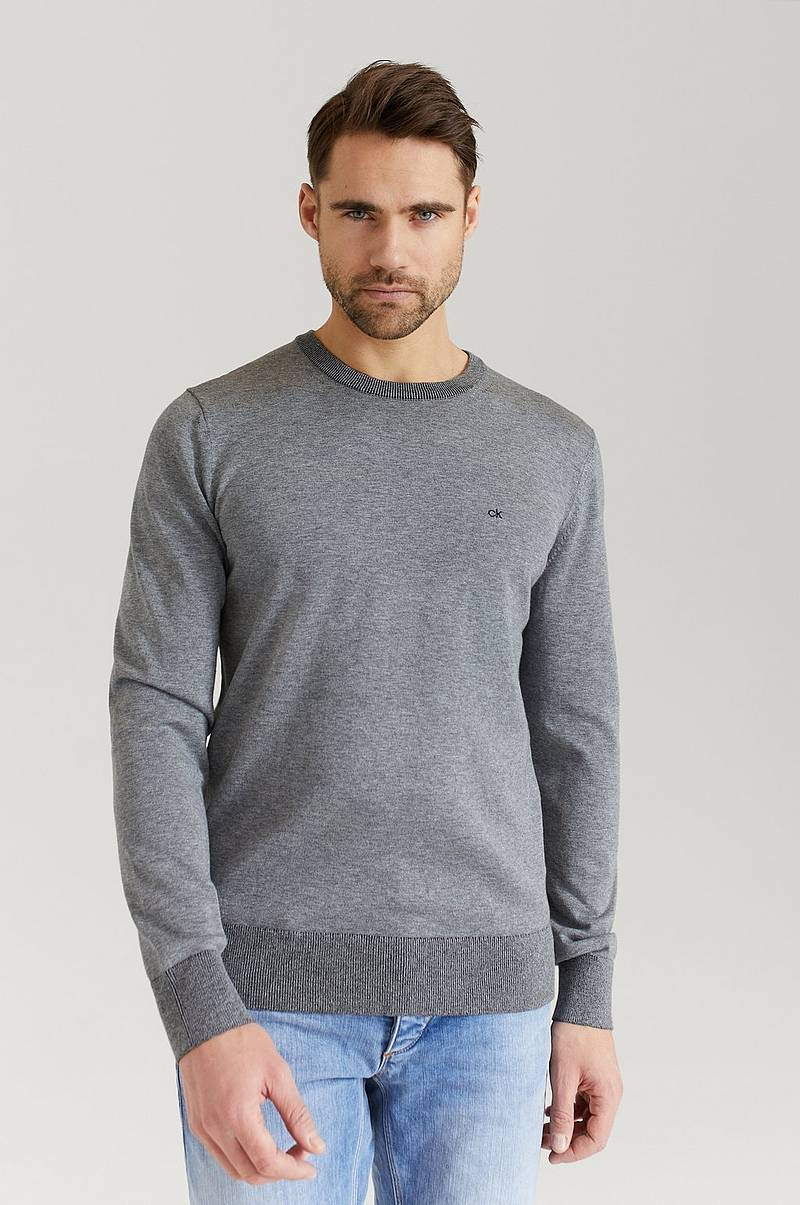 Striktrøje Cotton Silk C-Neck Sweater