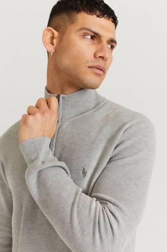 Polo Ralph Lauren Stickad tröja SSC04 Pima Cotton Halfzip Grå