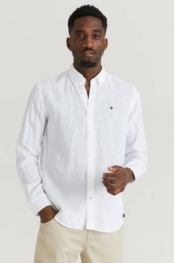 Morris Skjorta Douglas BD Linen Shirt LS Vit